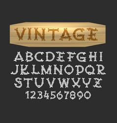 hand drawn vintage font in wood cut style vector image