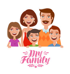 Happy family people parents and children concept vector