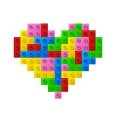 Heart from plastic toy blocks vector image
