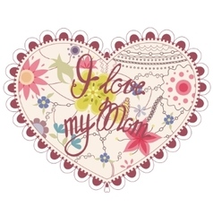 Heart vintage with I love my Mom vector image