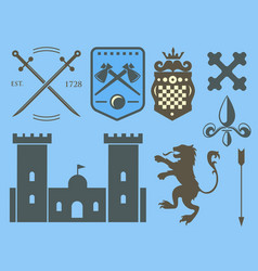 Heraldic royal crest medieval knight elements vector