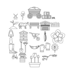 homestead icons set outline style vector image
