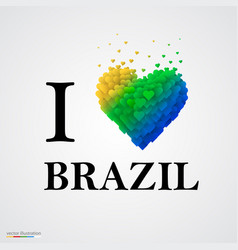 I love brazil font type with heart sign vector