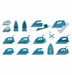 Icons irons symbols ironing vector