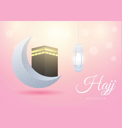 Islamic design hajj greeting card template with vector