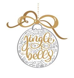 jingle bells gold vintage calligraphy lettering vector image