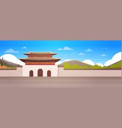 korea palace over mountains landscape south korean vector image