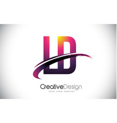 Ld l d purple letter logo with swoosh design vector