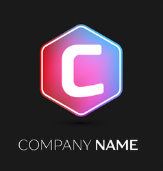 letter c logo symbol in colorful hexagonal vector image