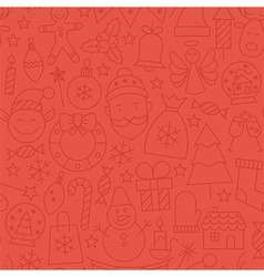Line Art Happy New Year Red Seamless Pattern vector image