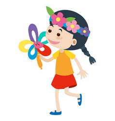 Little girl with flower headband vector
