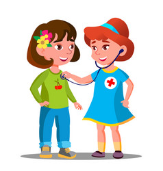 Little girls playing doctor with stethoscope vector