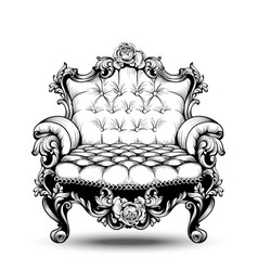 Luxury baroque armchair with elegant rose floral vector