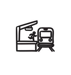 Man runs along train station platform sketch icon vector