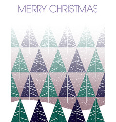 merry christmas blizzard with fir trees and landsc vector image