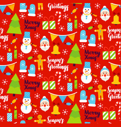 merry xmas seamless pattern vector image