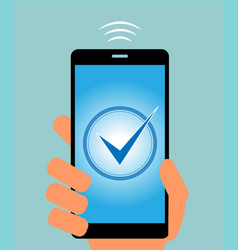 mobile phone with check mark on display vector image