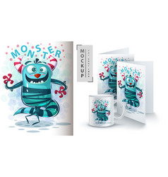 monster say hello - mockup for your idea vector image