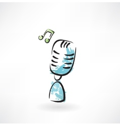 music microphone grunge icon vector image