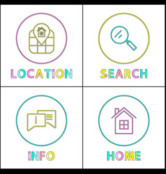 Object location information retrieval icons set vector