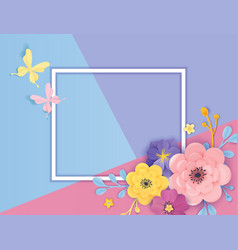 paper cut flowers greeting card template floral vector image