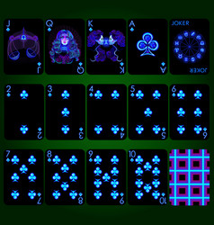 Playing cards series neon zodiac signs club suit vector