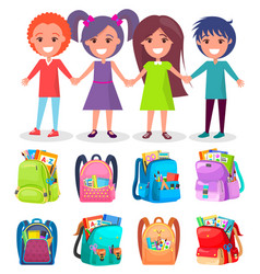 Pupils and backpack sticker school sign vector