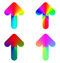 Rounded gradient rainbow arrow icon design set vector image