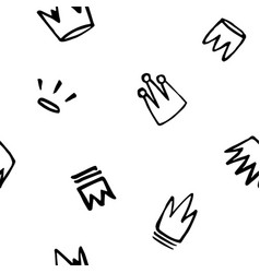 seamless pattern doodles hand drawn crowns vector image