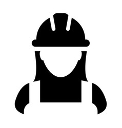 service worker icon female construction profile vector image
