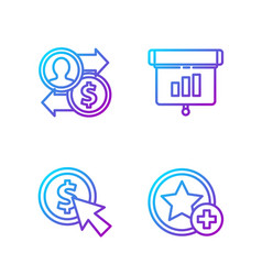 set line star cursor and coin job promotion vector image