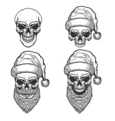 Set of santa claus skulls on white background vector