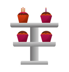 set sweet cupcakes with candles isolated icon vector image
