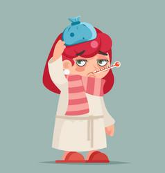 Sick ill girl cold virus flu disease female vector