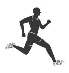 silhouette athlete running isolated icon vector image vector image