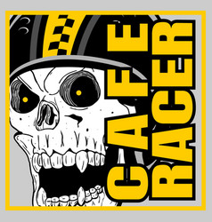 skull helmet cafe racerhand drawing vector image
