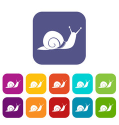 snail icons set vector image