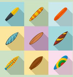Surf board icons set flat style vector