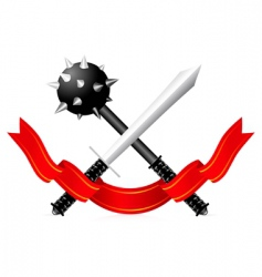 Sword and mace illustration vector