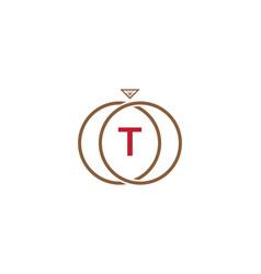 T letter ring diamond logo vector