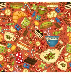 Tea coffee and sweets seamless pattern vector