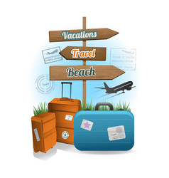 Travel wood sign background concept vector