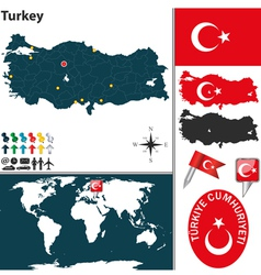Turkey map world vector image