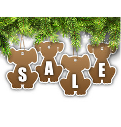 Wallpaper with fir branches and stickers dog sale vector