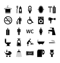 wc toilet icons restroom and bathroom vector image