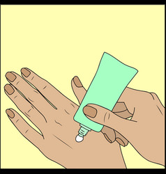 Woman use cream for hands on yellow vector