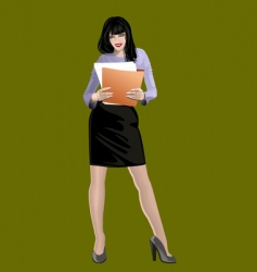 Woman with folder vector