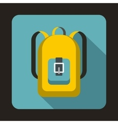 Yellow backpack icon in flat style vector image