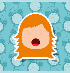 Young girl face yawning clocks background vector