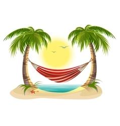Beach vacation Hammock between palm trees vector image vector image